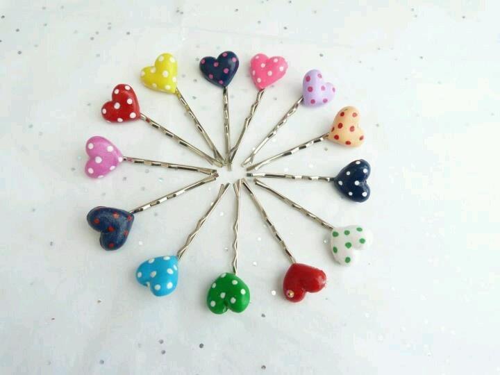 Hair pins - fimo hearts