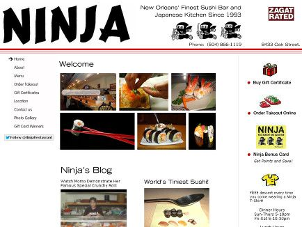 Ninja Sushi - 8433 Oak St., New Orleans, LA, 70118.  Dinner Hours - Sun-Thurs 5-10pm, Fri-Sat 5-10:30pm / Lunch Hours - Wed-Fri 11:30-2:30pm, Sat-Sun 12-3pm.  Has a separate vegetarian menu with lots of choices, and all items that contain egg (either straight, in noodles, or in the tempura) are clearly marked.