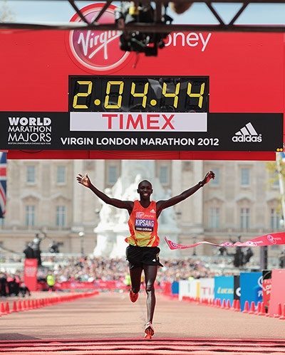 Kipsang crosses the line and narrowly misses the course record...London Marathon 2012