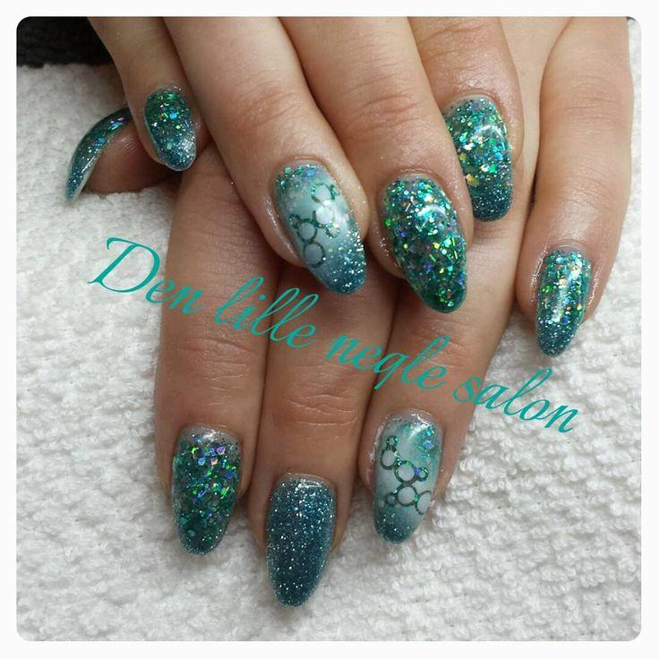Fab glitter nails.  air brush nail art.  Made in my salon in Denmark www.facebook.com/denlilleneglesalon