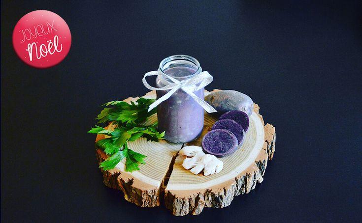Recette de Noël pour bébé n°2 : Joue de lotte purée de vitelotte et céleri branche pour bébé (Dès 6 mois). Un petit pot avec lequel bébé va se régaler lors du réveillon de Noël ! (Ou du jour de l'an ;))