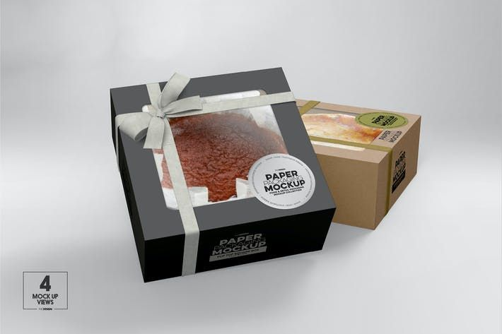 Download Square Flip Top Cake Box Packaging Mockup By Ina717 On Envato Elements Di 2021