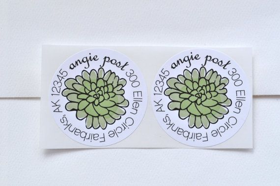 Succulent Personalized Address Labels on Etsy, $3.50