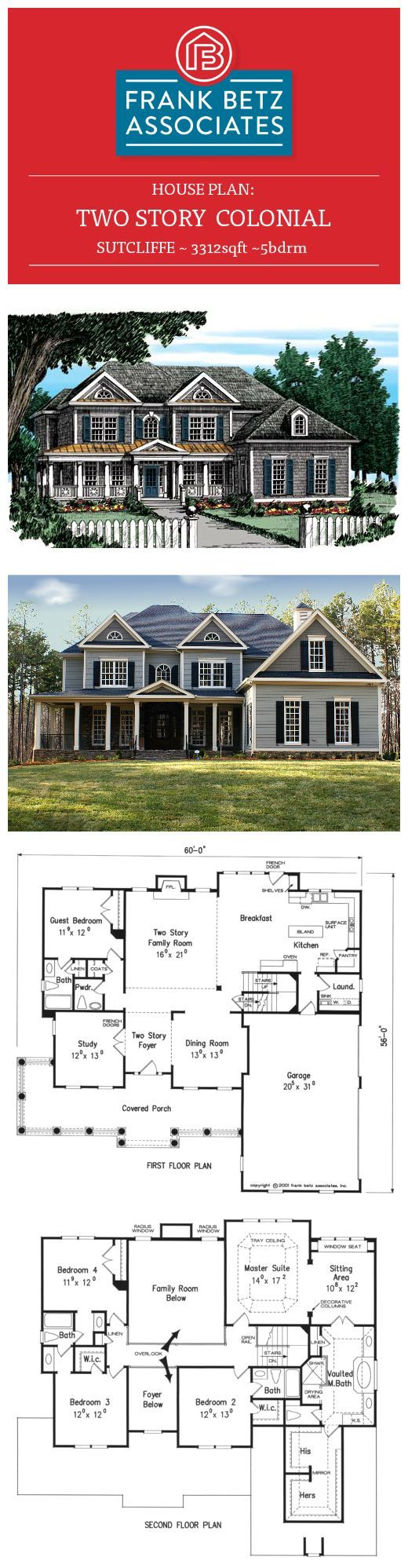 Sutcliffe: 3312sqft|5bdrm two-story Colonial house plan by Frank Betz Associates Inc.