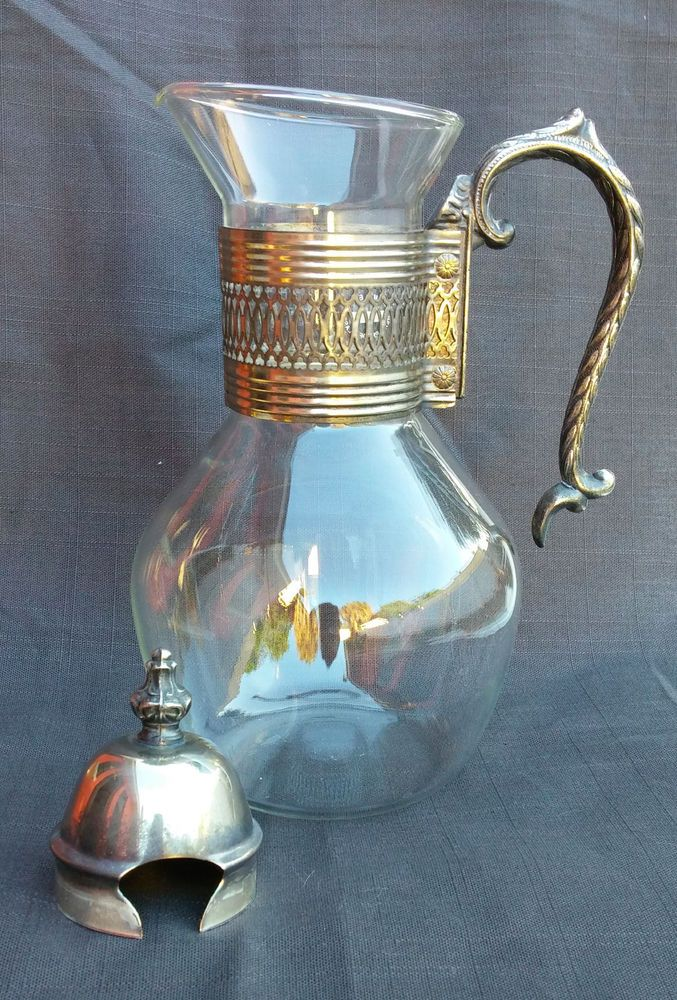 Vintage corning brand carafe pitcher heat proof glass with lid coffee tea coffee tea carafe - Heat proof pitcher ...