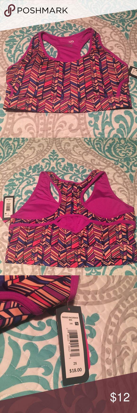 NWT Plus Size Sports Bra Brand new, with tags. Magenta Aztec print Plus Size sports bra. Removable padding. Size 2x Intimates & Sleepwear Bras