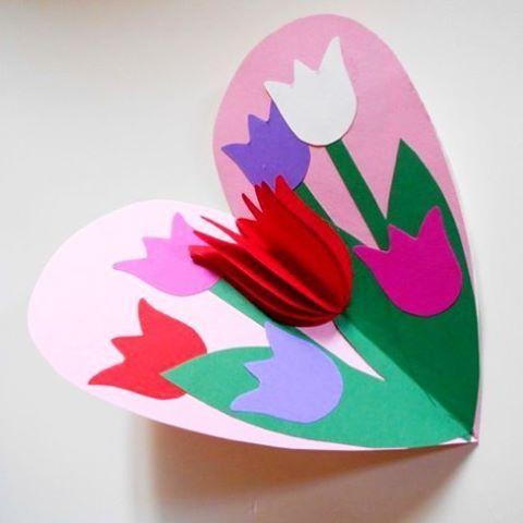 Картинки, открытка своими руками 8 марта тюльпаны