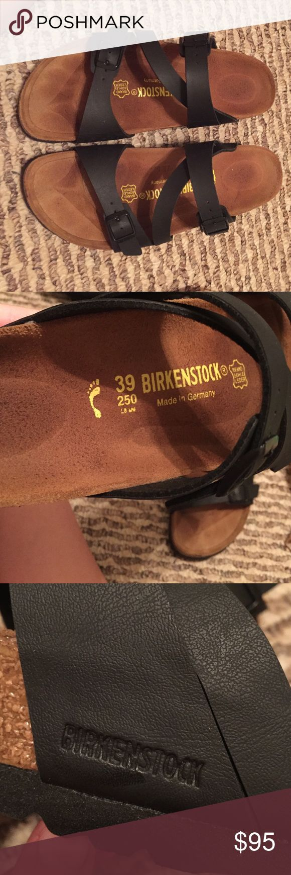 Size 39 Birkenstock Salina Hey guys! Funny story, I literally just bought these guys yesterday (6/7/16) at Kinnucan's; however, I didn't walk around in them. I just tried them on. I don't really want them anymore because my foot is just a tad bit too small, and the toe bar is a little uncomfortable just because my foot is too small. Other than where you can see my light foot imprint, these shoes are cute, comfortable, and basically new! Please don't ask to trade unless if you have a pair of…
