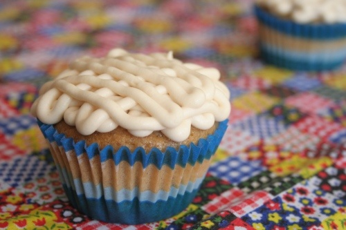 Peach cupcakes with Brown Sugar Frosting recipe, courtesy of That's ...