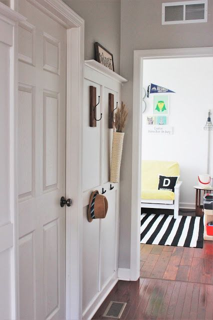 DIY Board and Batten Hallway Coat Rack. Imagine this pretty (and functional) wall greeting you every time you walked into your home!
