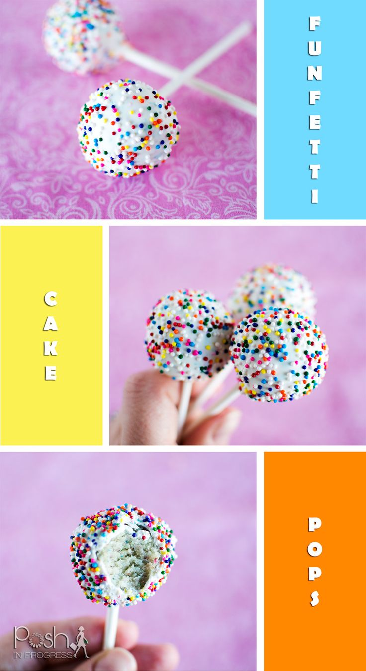 Homemade Funfetti Cake Pops Recipe -- including all the steps on how to make them from scratch. #funfetti