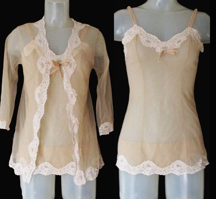 50s Pin Up Lingerie Set - 3 Pieces - Sheer Chemise - Sheer Robe - Sheer Hipster Panties - Small by LunaJunctionVintage on Etsy