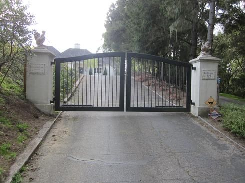 557 Arched Gate At Driveway Gate Wrought Iron Double Swing Gate