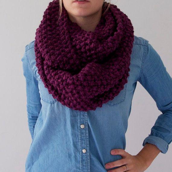 Chunky Knit Infinity Scarf in Dark Plum by AnahareoSeasonal
