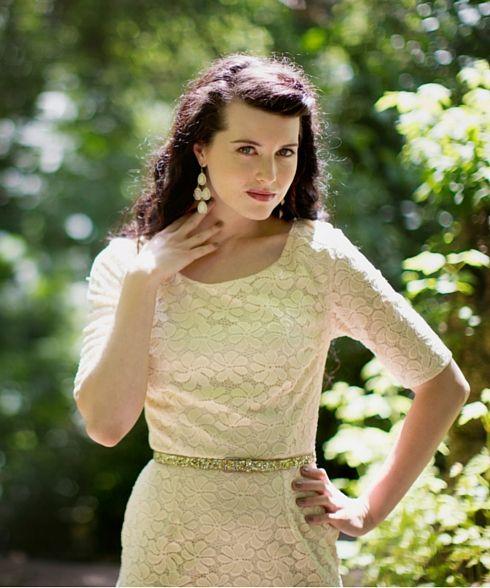 April - cream - knee length dress.