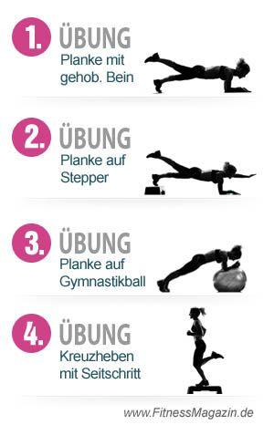 4 Übungen flachen Bauch