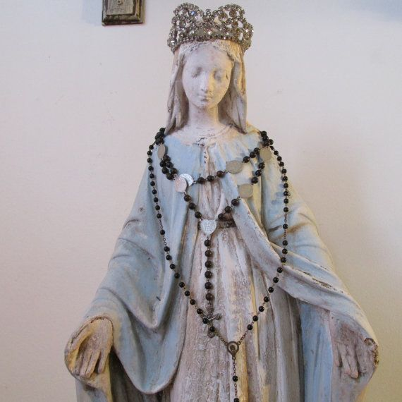 Large Madonna statue hand painted distressed French Nordic chalkware Virgin Mary figure Shabby cottage home decor anita spero design