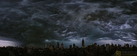 The photographer Ryan Brenizer snapped this incredible photo of New York under a dark, dramatic sky last night. It looks like the city is ready for the return of Gozer.