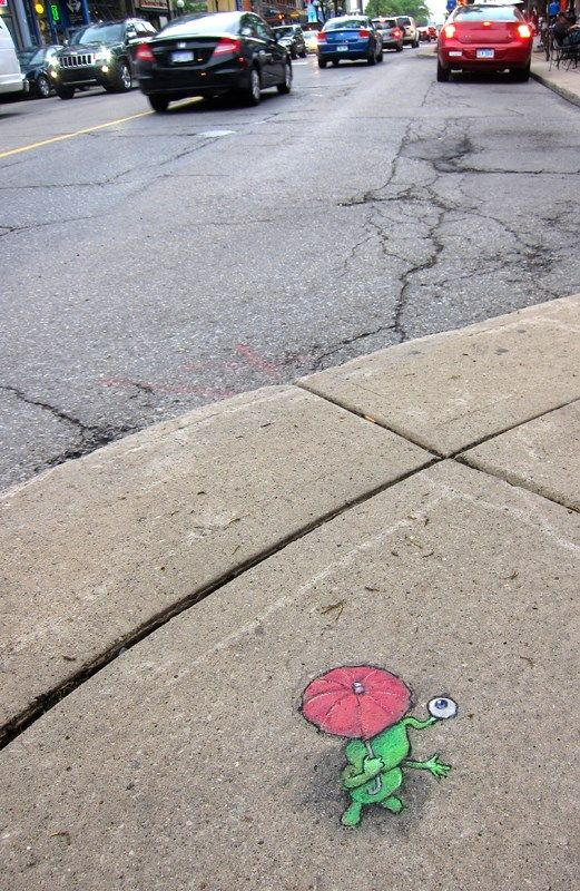 Rainy Day Protocol: One Eye Dry. Schlanderer & Sons jewellery shop, Ann Arbor, Michigan (May 28, 2013) - street art by David Zinn