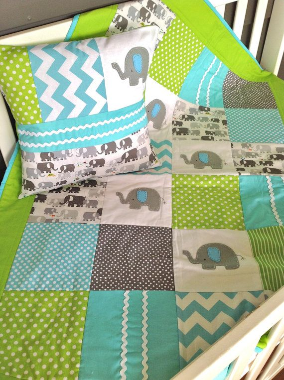 Elephant  Baby  Crib Quilt   and Cushion by AlphabetMonkey on Etsy, $235.00
