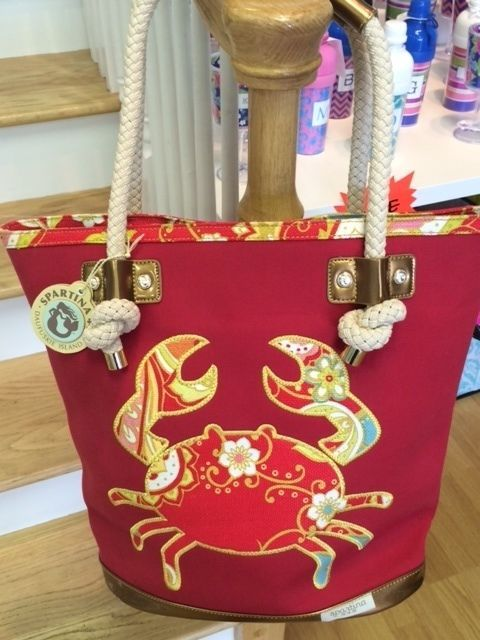 Spartina 449 Canvas Beach Bag Fiddles Cove With Crab Pretties Pinterest Bags Purses And