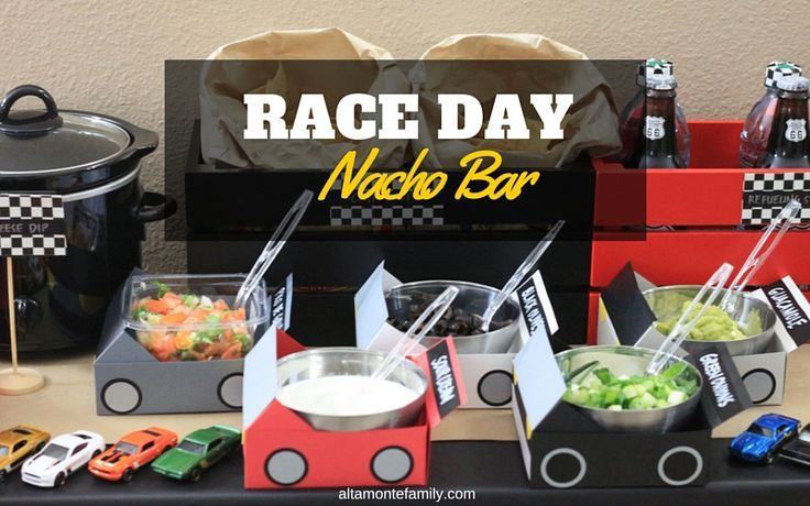 This DIY Race Day Nacho Bar is perfect for any Nascar event! Your guests will be amazed at your creative decor AND your delicious food!