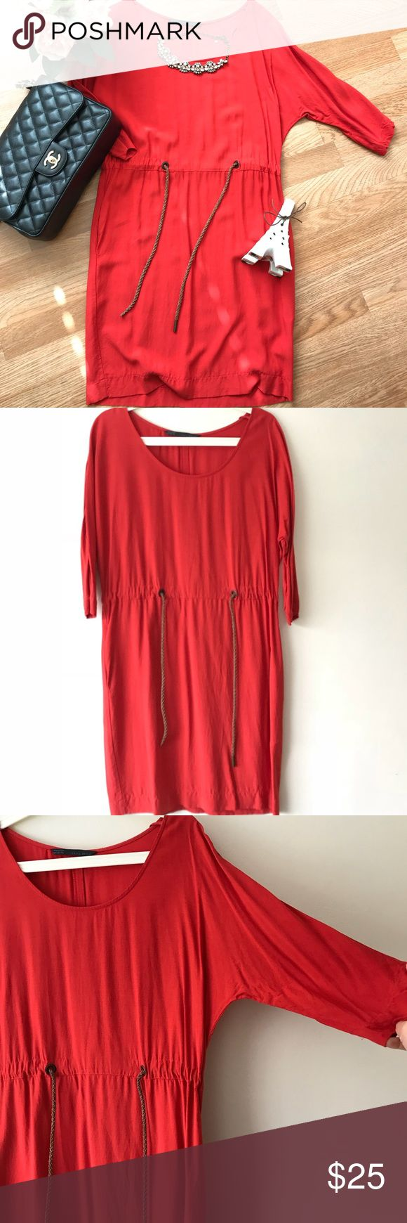 Zara 3/4 Sleeve Red Dress with string belt Zara red 3/4 sleeve dress with a belt around the waist  Size small Worn about 3 times, in great condition Very flattering Zara Dresses