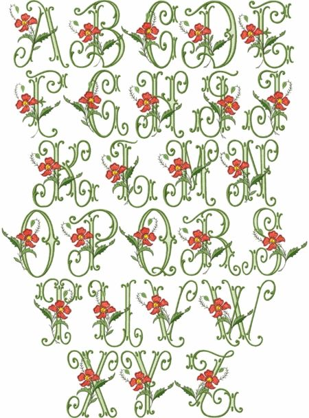 Vintage embroidery font with poppies pinterest