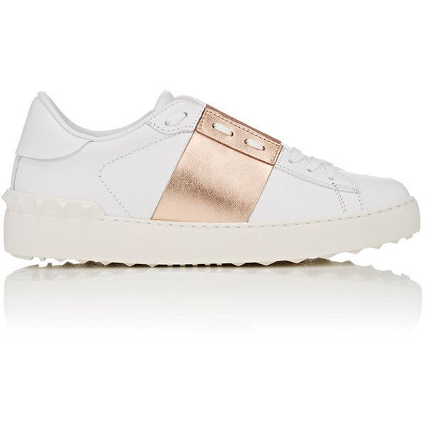 "Valentino Women's ""Open\"" Leather Sneakers (3980275 PYG) ❤ liked on Polyvore featuring shoes, sneakers, valentino shoes, leather lace up shoes, wide shoes, striped sneakers and metallic gold sneakers"