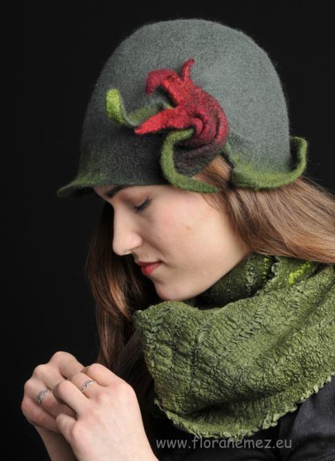 Felt hat, nunofelt scarf