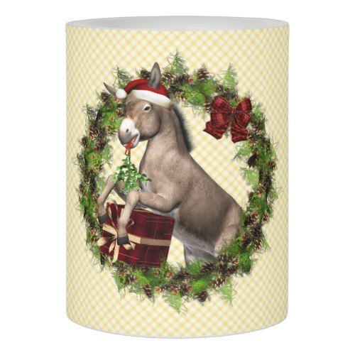 Italian Christmas Donkey Santa Wreath Flameless Candle