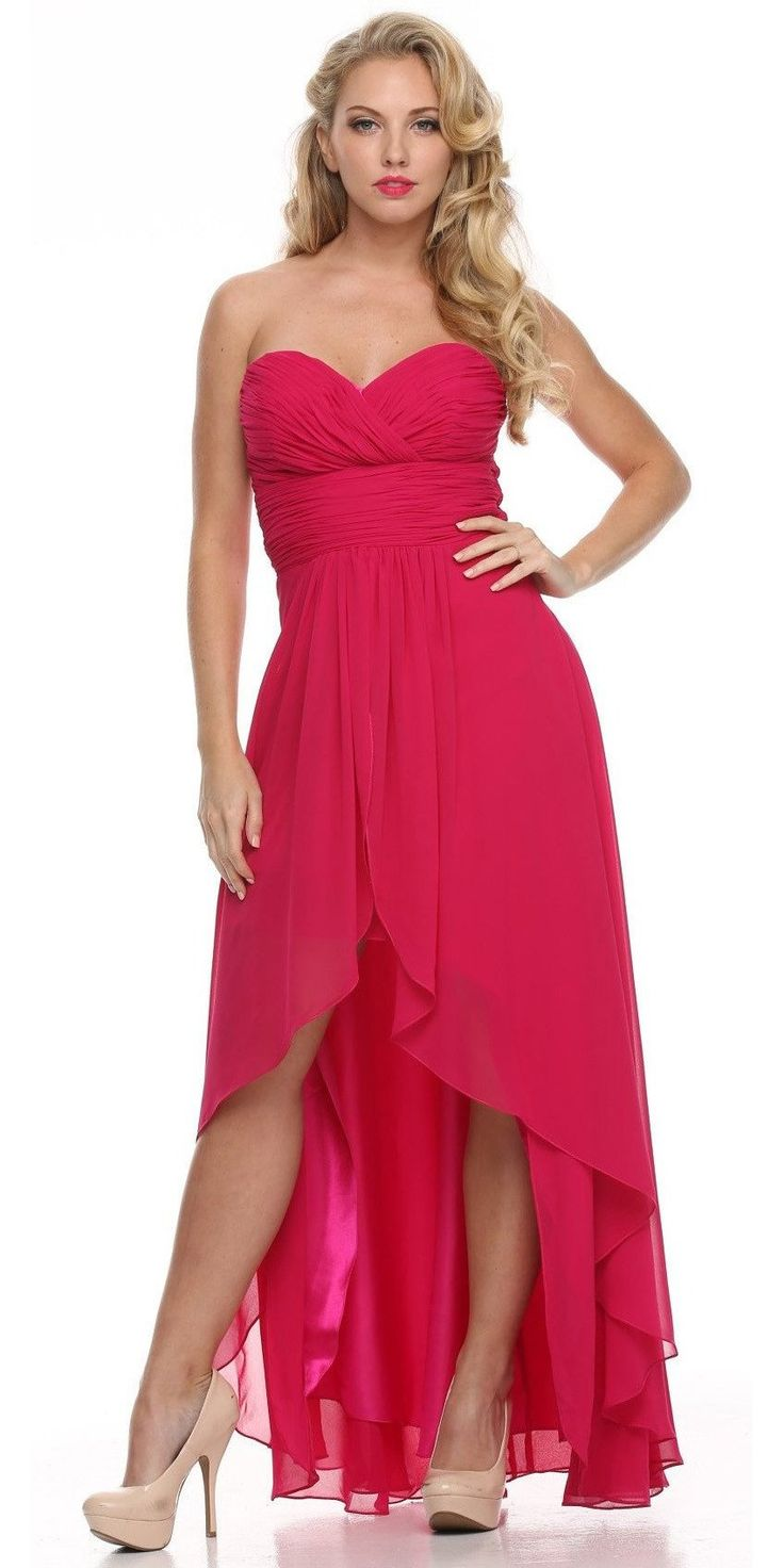 Best 25 fuchsia bridesmaid dress colors ideas on pinterest high low ruched bodice strapless layered coral bridesmaid dress ombrellifo Image collections