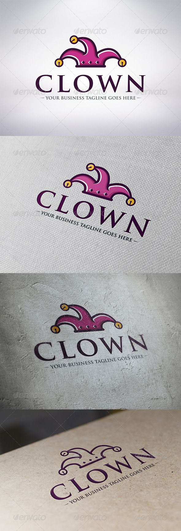 Clown Logo Template #GraphicRiver - Three color version: color, greyscale and single color. - The logo is 100% resizable. - You can change text and colors very easy using the named and organized layers that includes the file. - The typography used is Trajan Pro a system default font. Created: 5 December 13 Graphics Files Included: Vector EPS #AI Illustrator Layered: Yes Minimum Adobe CS Version: CS Resolution: Resizable Tags brand #buffoon #business #cards #circus #clown #colors #company…