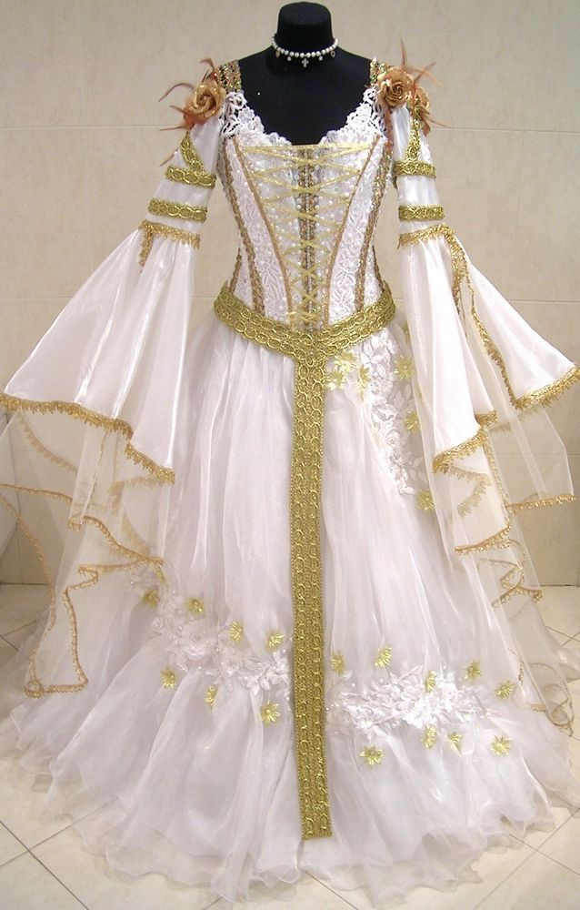 White and gold medieval dress
