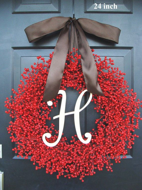 Valentine Berry Wreath- Holiday Wreath- Monogram Christmas Wreath- Christmas Decor- Valentine's Day Wreath- Holiday Wreath on Etsy, $85.00