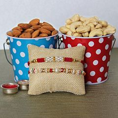 buy online two beautiful rakhi and dry-fruits for brother at sendrakhi.com