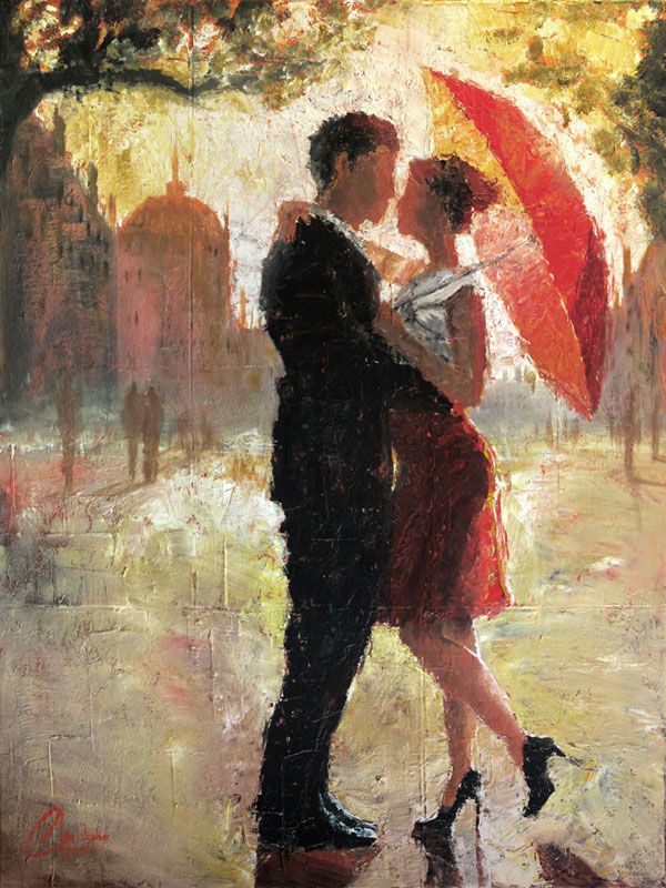 This is an original oil painting by artist Christopher Clark. Love and romance, brought together in the glistening afternoon sun by a simple...
