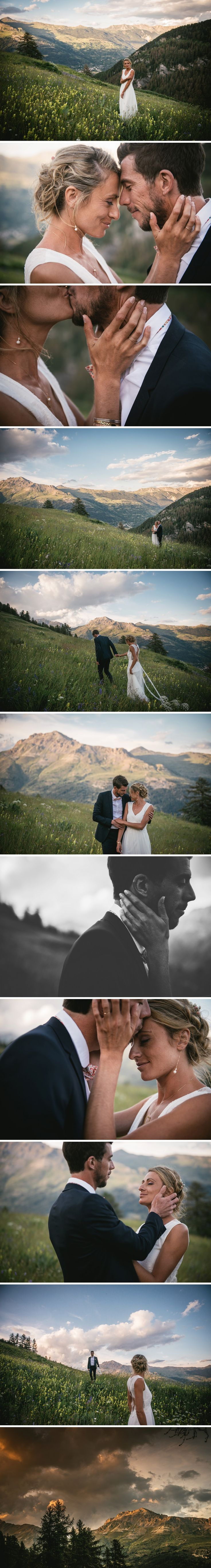 Couple pictures on top of a mountain on their wedding day - wedding dress by Kaa Couture - Groom's bowtie by Le Colonel Moutarde - Zephyr & Luna photography