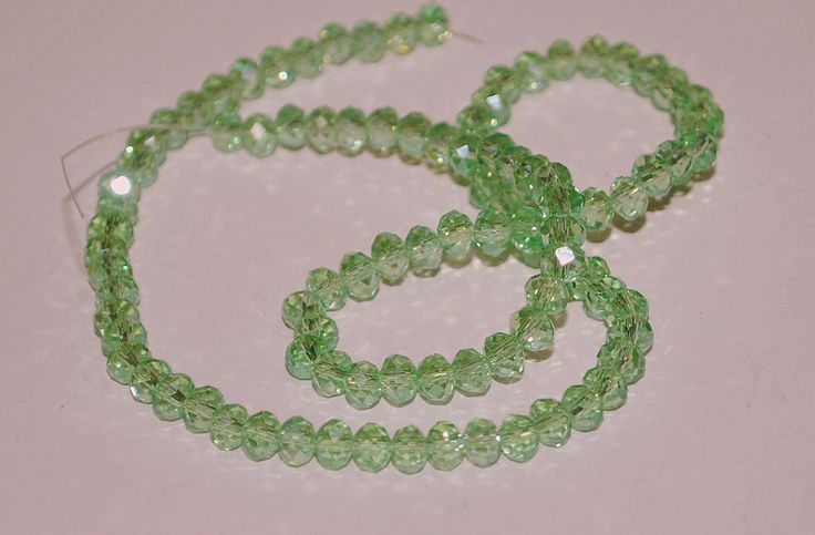 4x3mm Transparent Pale Green Rondelle Faceted Crystal Beads by RainandSnowBeading on Etsy