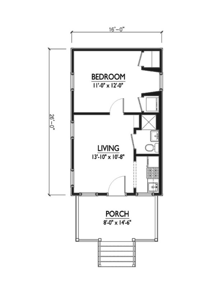 Cottage Style House Plan   1 Beds 1 Baths 416 Sq/Ft Plan #514