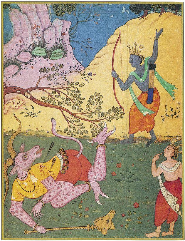 Rama strikes down Khara with an arrow. Folio from the Ramayana of Valmiki (The Freer Ramayana): 1597-1605, Qasim , (Mughal, Northern India)