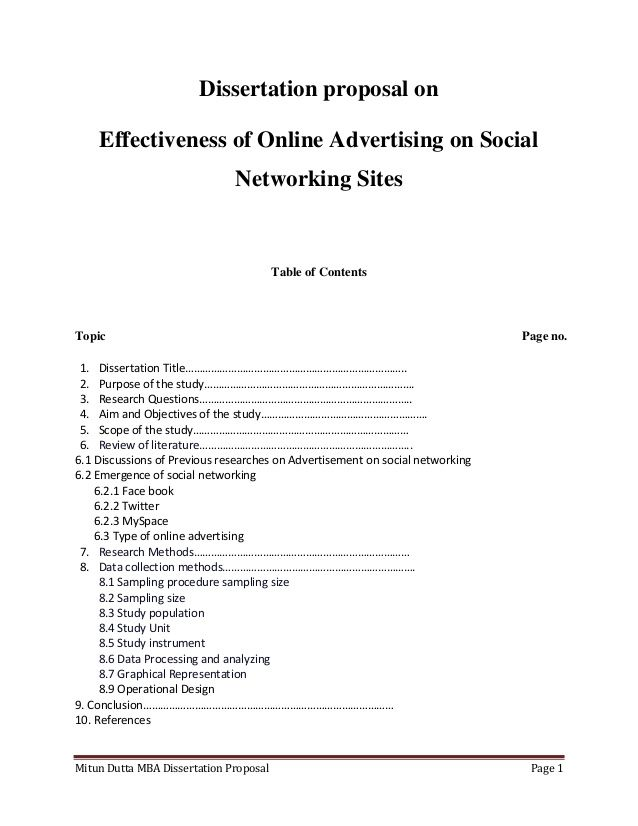 Mitun Dutta MBA Dissertation Proposal Page 1Dissertation proposal onEffectiveness of Online Advertising on SocialNetworkin...