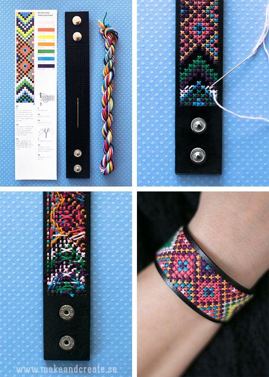 Broderade armbandKorsstygn är fint och jag tycker om att använda det i lite oväntade sammanhang. Som med detta broderade armband i imiterat läder. Armbanden ingår iett...