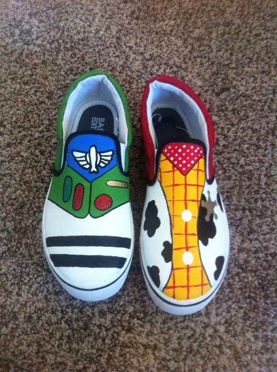 Buzz lightyear woody canvas men's shoes by ImWithTheMouse on Etsy, $49.00