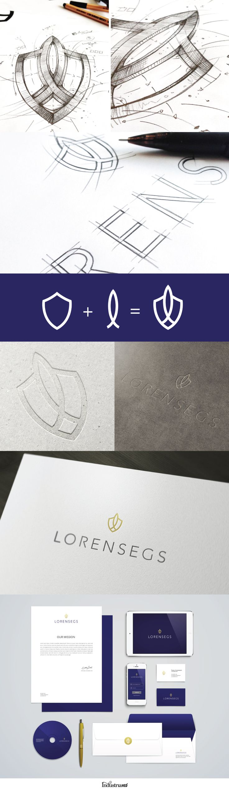 LORENSEGS // Insurance Company Identity by IndustriaHED (via Behance.net). Seal/emblem symbol logo. Blue, white, and gold color scheme.