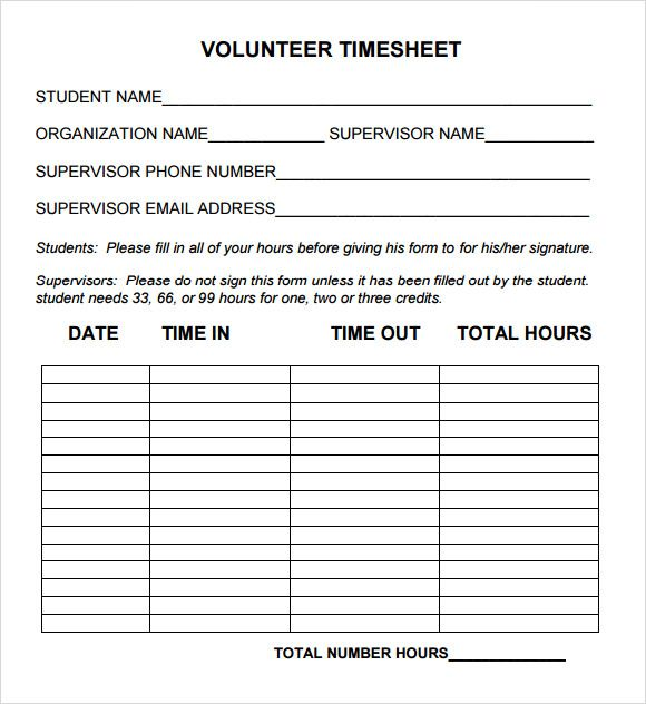 Sample Volunteer Timesheet Template Download Timesheet template