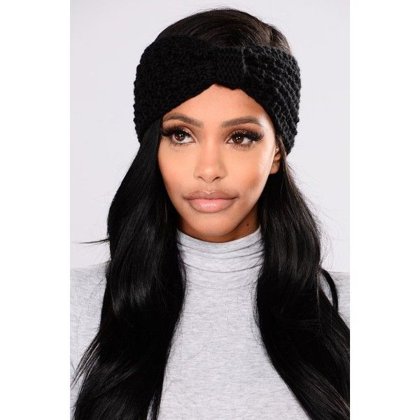 Lil Bow Headband Black ($5.99) ❤ liked on Polyvore featuring accessories, hair accessories, bow hairband, thick headbands, head wrap headbands, knit bow headband and head wrap hair accessories
