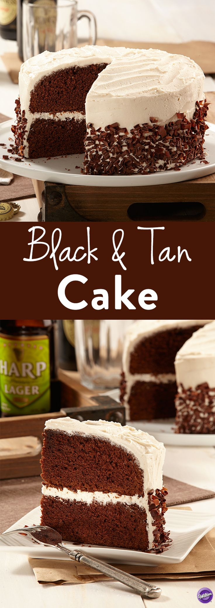 How to Make Black & Tan Cake - Taste the incredible combination of Guinness and Harps in this ultimate Black and Tan cake. Guinness and salt increase the bitterness in the chocolate, while the Harps adds a light and smooth balance of flavor. So much goodness and so fun to make. Bake the cake for occasions like Father's Day, wedding shower parties, or even for just an evening gathering with friends.