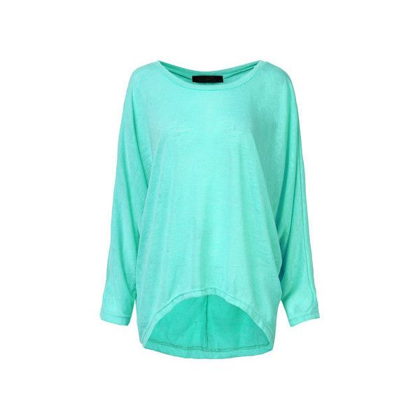 Plus Size Loose Batwing Sleeve Soild Women T-shirt ($16) ❤ liked on Polyvore featuring tops, t-shirts, green, women plus size tops, print tees, women's plus size tops, blue cotton t shirts, loose fit t shirts and blue t shirt