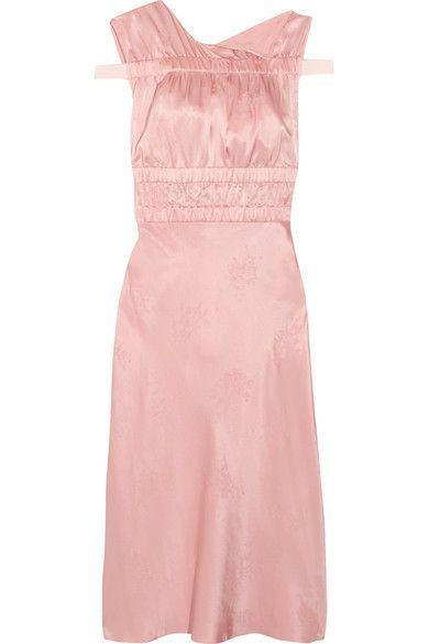 Topshop Unique - Lambeth Ruched Silk-jacquard Dress - Baby pink - UK10